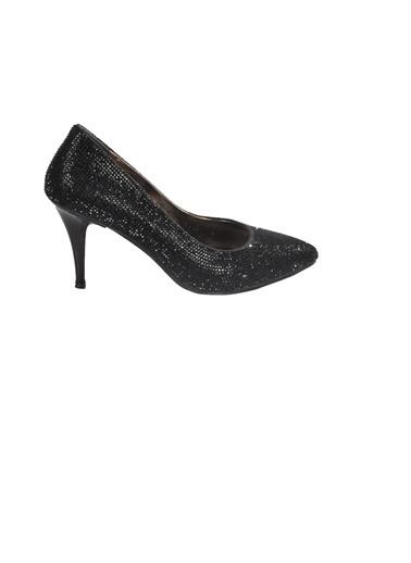 Mhd 012 Platin Kadın Topuklu Ayakkabı Siyah